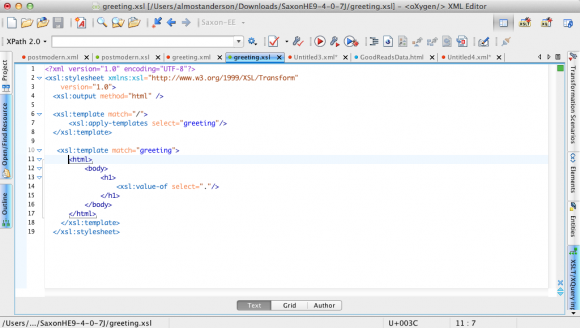 A simple XSLT stylesheet in oXygen 14.2